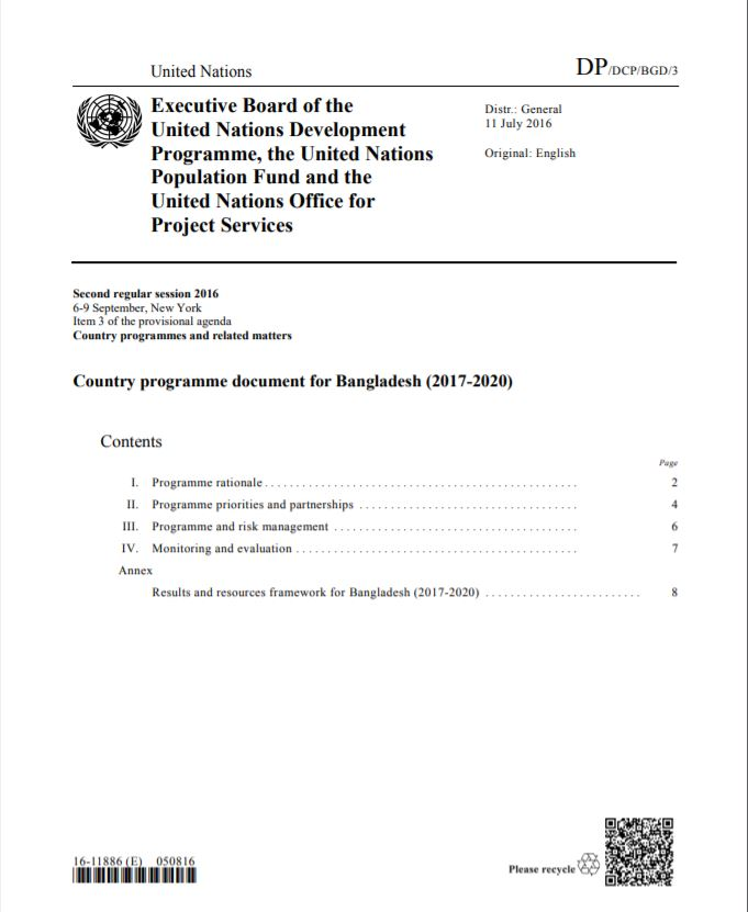 Country programme document for Bangladesh (2017-2020)