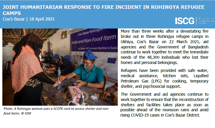 Situation Report #3 on the Joint Humanitarian Response to Fire Incident in Rohingya Refugee Camps